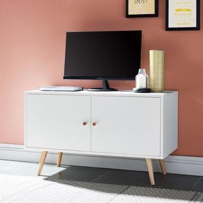 ANNETTE Meuble TV scandinave décor blanc + pieds en bois massif - L