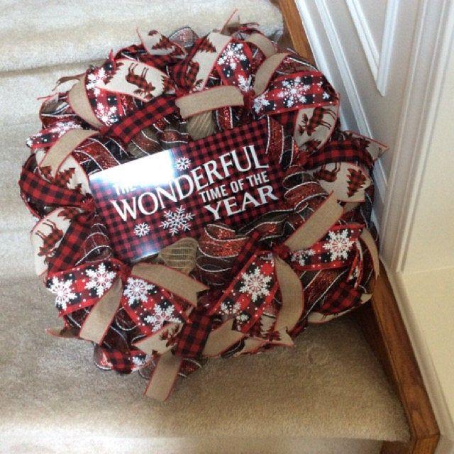 Photo of Buffalo Plaid Wreath, Everyday Decoration, Christmas Burlap Wreath, Red and Black Flower, Realtor Client Gift, Office Decor, Buffalo Check