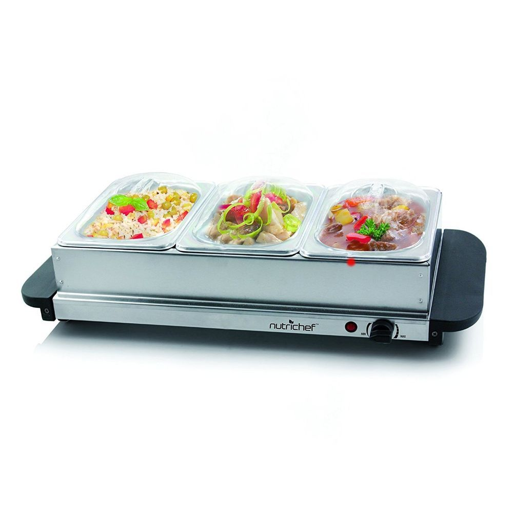 NutriChef 3 Tray Buffet Server Hot Plate Food Warmer Tabletop ...