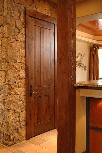 Rustic 1 3 4 Knotty Alder Door 2 Panel Plank Square Top Rail Snake River Stain Glaze