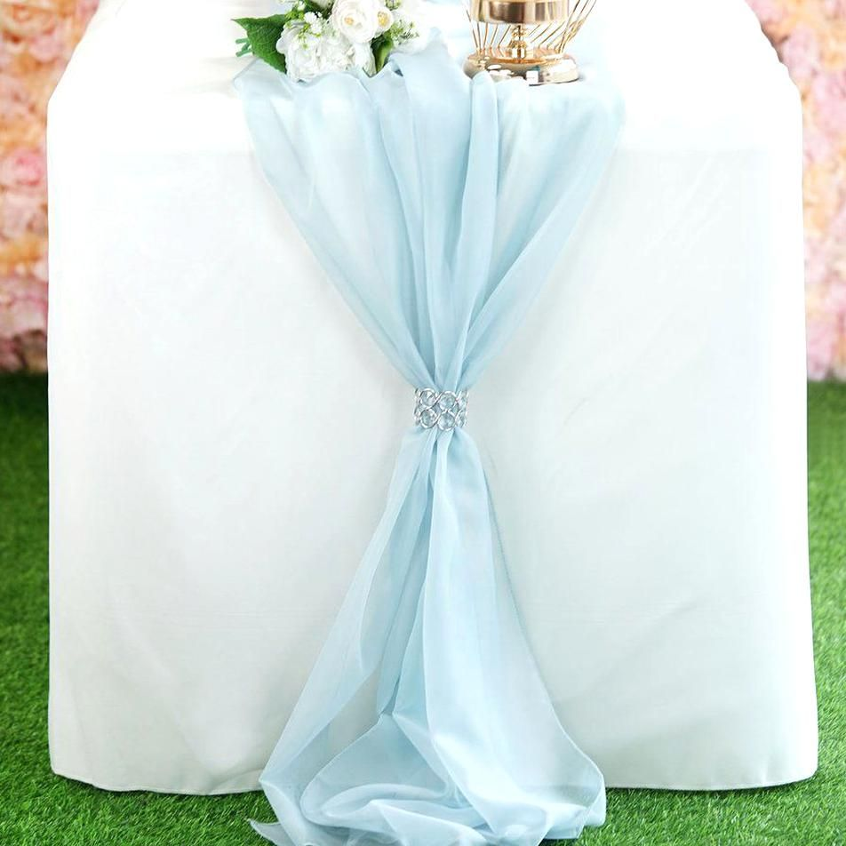 6 Ft Ice Blue Premium Chiffon Table Runner Tablecloths Factory Tableclothsfactory In 2020 Table Cloth Table Runners Ice Blue