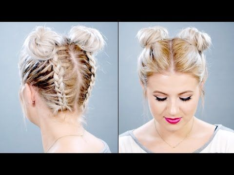 Space Buns Double Bun Upside Down Dutch Braid Into Messy Buns