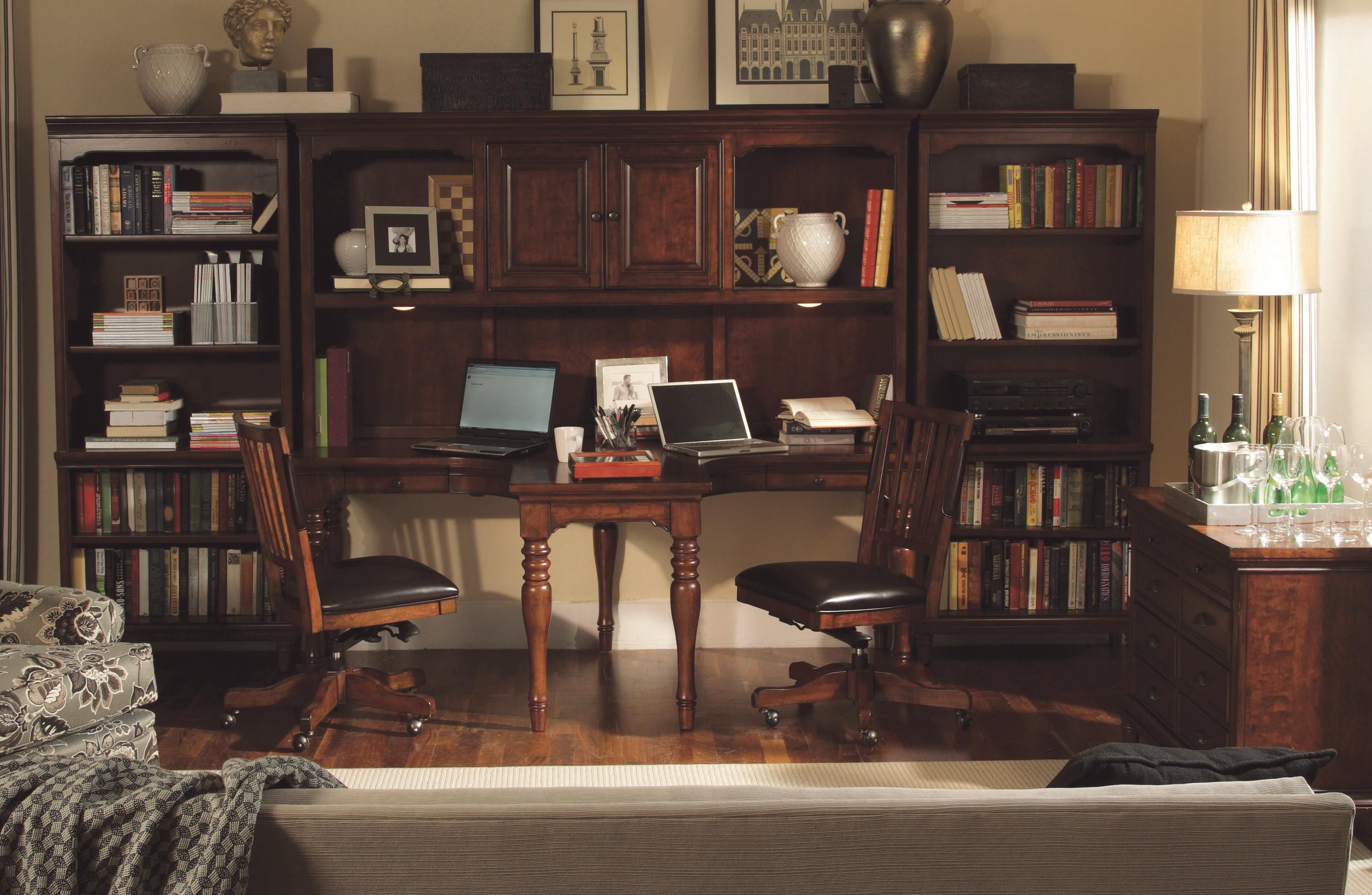 Traditional 4 Piece Dual T Desk And Hutch 2 Open Bookcases By Aspenhome