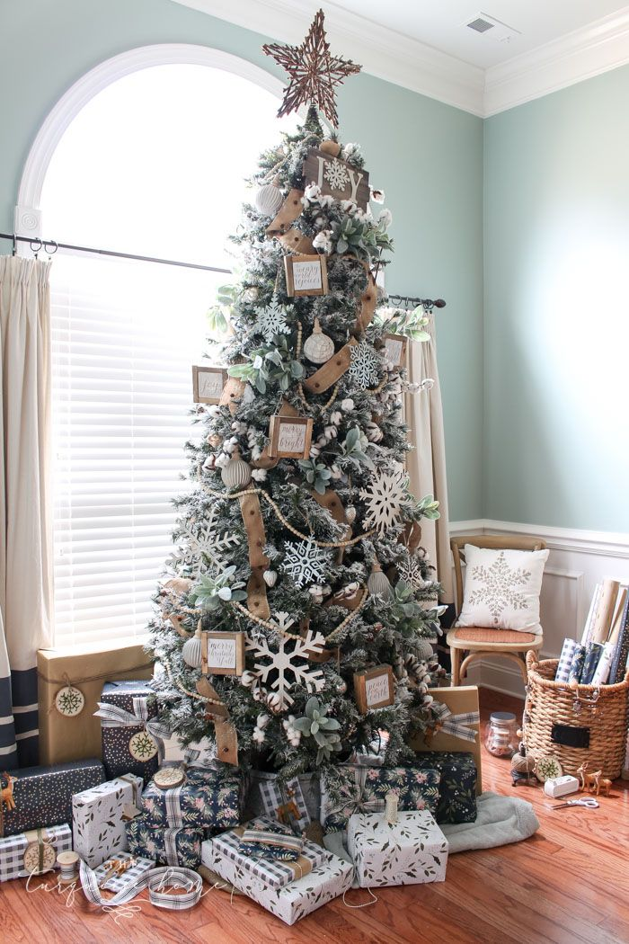 farmhouse christmas tree super cute cotton stems lambs ear galvanized snowflakes and wooden bead garland christmas decorating pinterest