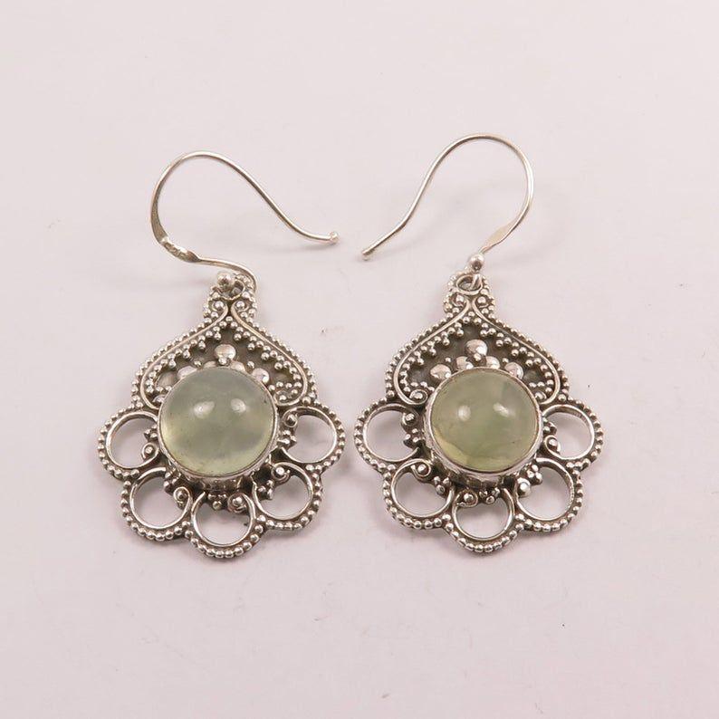 Gemstone Earring Gift For Her Prehnite Sterling Silver Earrings Boho Earring Drop Earring Dangle Earrings Artisan Handmade Jewelry