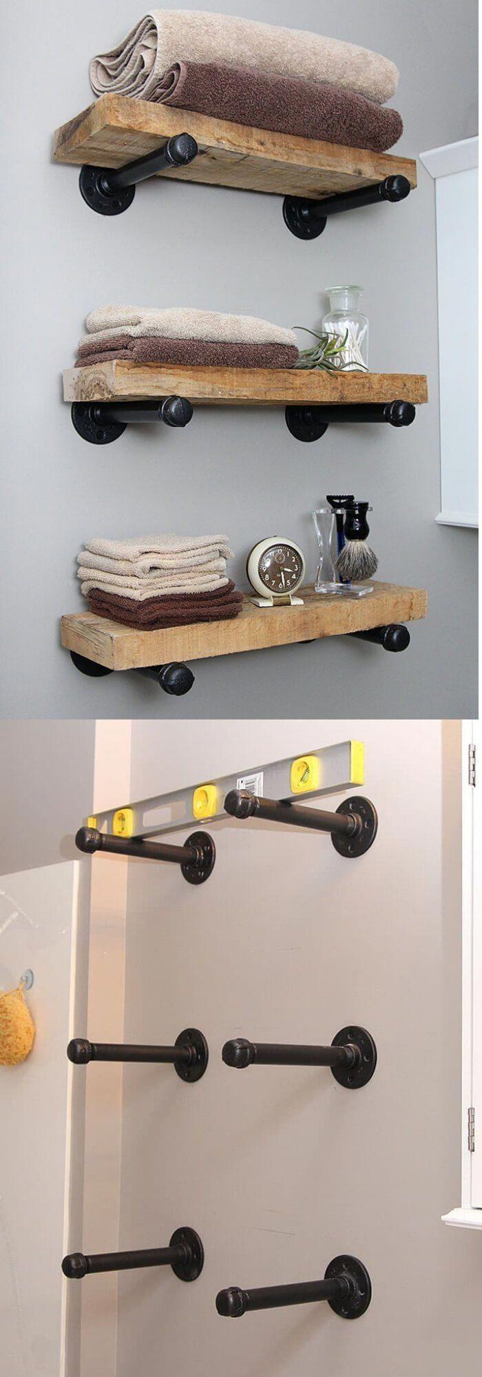 Rohr Und Holzregale Best Over The Toilet Aufbewahrungsideen Fur