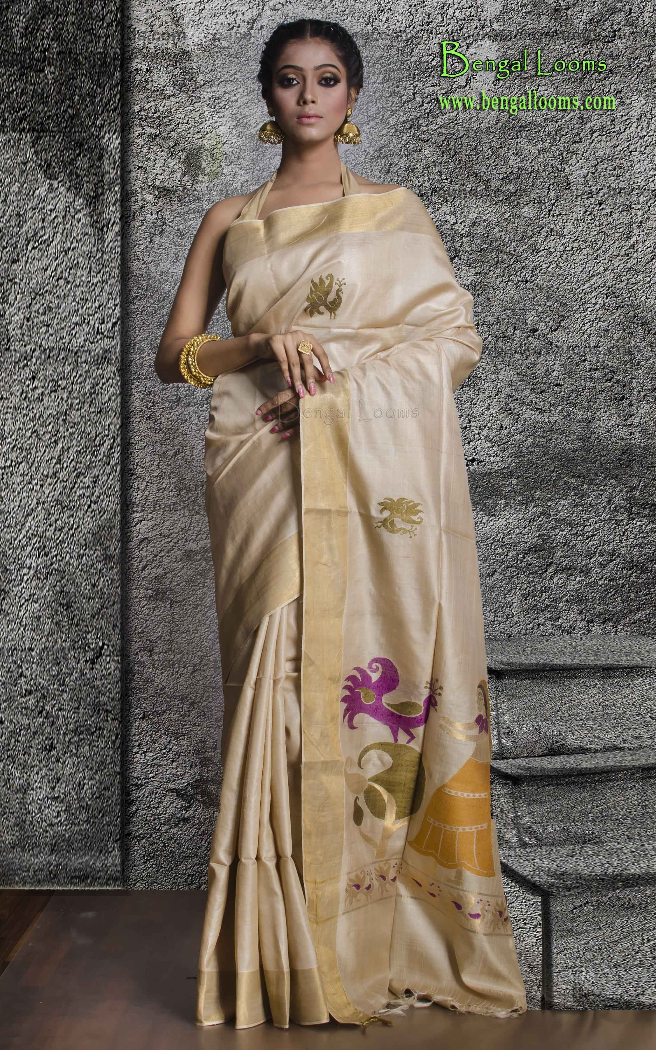 8aac437c12 Pure Handloom Tussar Silk Saree in Beige and Gold | Exclusive Sarees ...