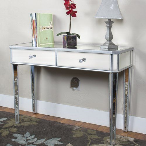 Best Choice Products Mirrored Console Table Vanity Desk Mirror Glam 2 Drawers Home Furniture Vi Mirrored Console Table Mirrored Sofa Table Mirrored Furniture