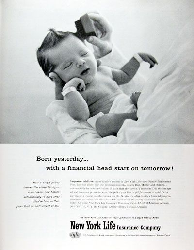 1959 New York Life Insurance   Fantastic Old Ad That Still Rings True  Today. Love The Hair!