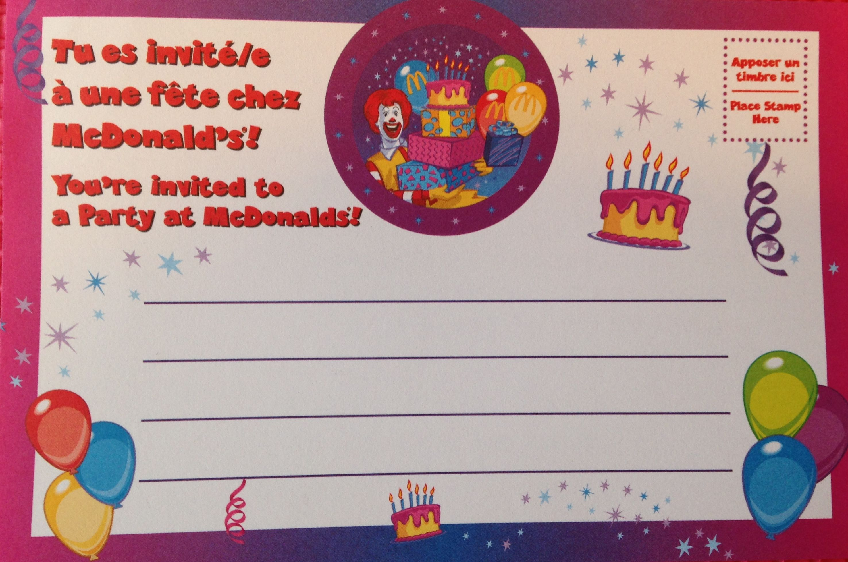 1st Birthday Video – Mcdonalds Birthday Party Invitations