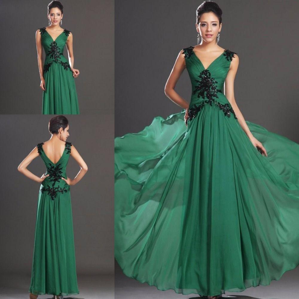 Vintage dark green evening dresses long deep v neck ruched applique