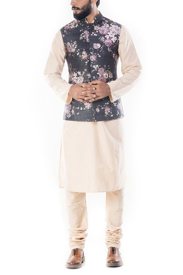 947726be751 Light Beige Kurta With Ivory Floral Printed Jacket- Smritiapparels ...