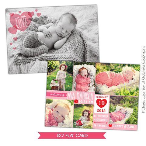 valentine birth announcement template little angel girl newborn