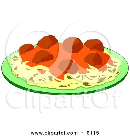 Spaghetti, Meatballs and Marinara Italian Food on a Plate Clipart ...