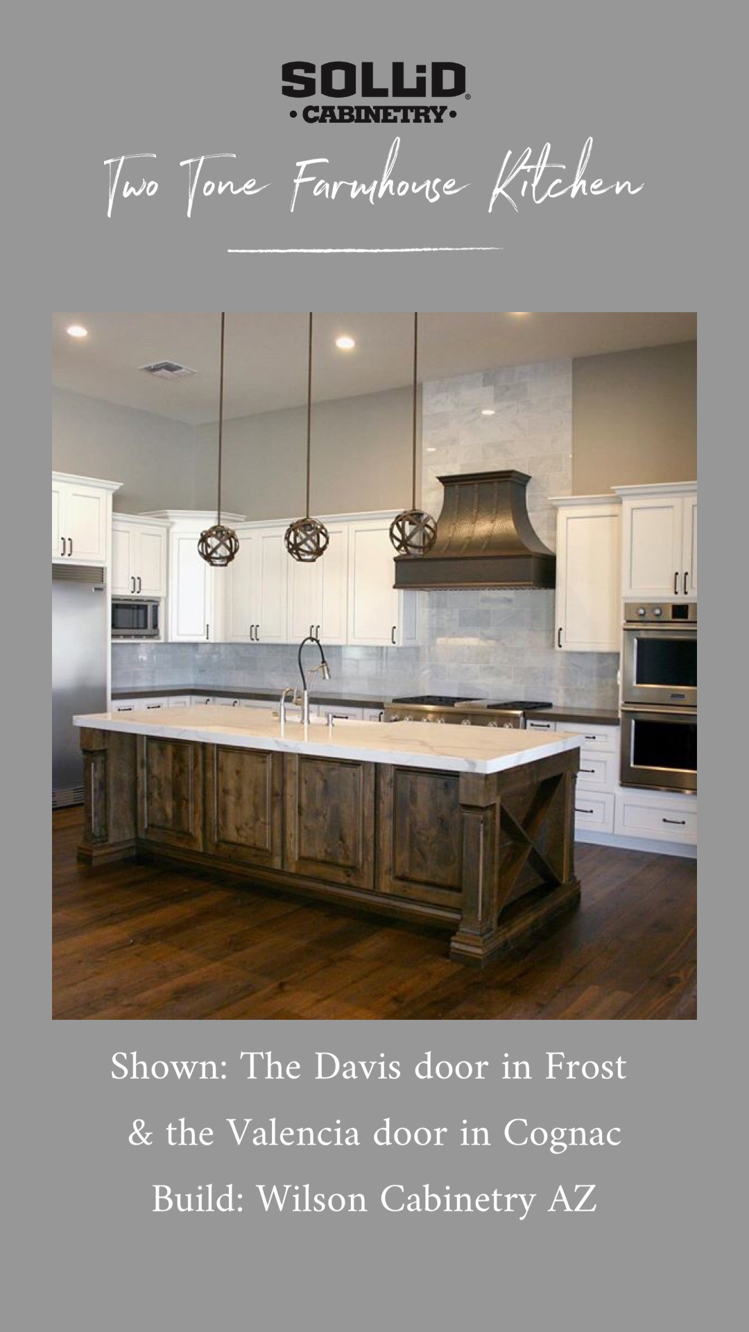 A Two Tone Modern Farmhouse Kitchen With White Shaker Cabinets And An X End Island Custom Kitchen Cabinets Custom Bathroom Vanity Modern Farmhouse Kitchens