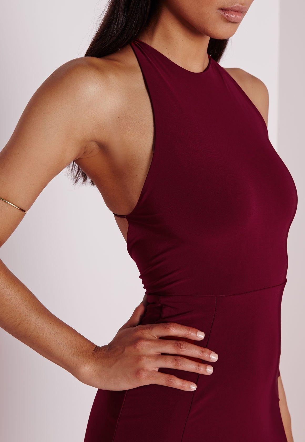 a9d909b5123a Slinky Side Split Maxi Dress Burgundy - Dresses - Maxi Dresses - Missguided