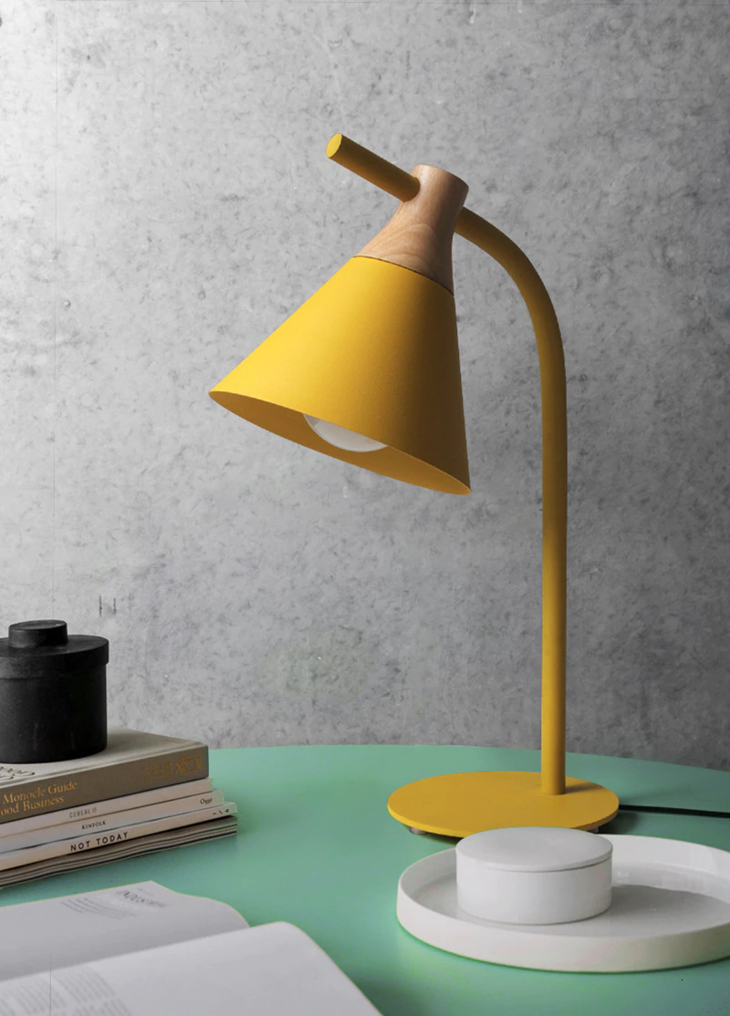 Nordic Simple Iron Wood Table Lamp Modern Countryside Desk Lamp Led E27 With 4 Colors For Study Bedroom In 2020 Desk Lamp Modern Desk Lamp Mid Century Modern Desk Lamp