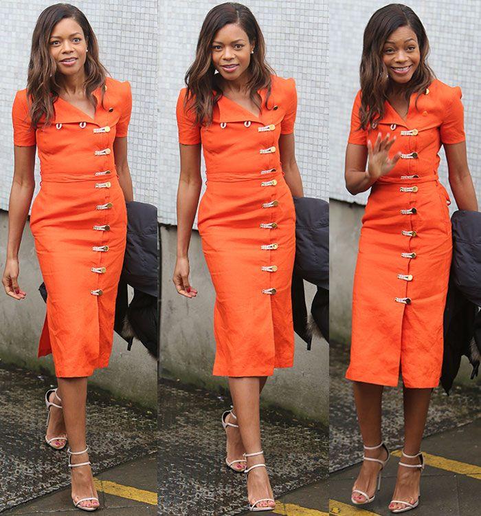 Naomie Harris in orange Altuzarra dress