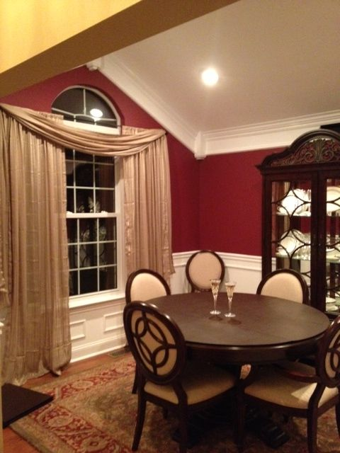 Dining Room   Red Paint, Wainscotting, Crown Molding   Gold Curtains    Oriental Rug