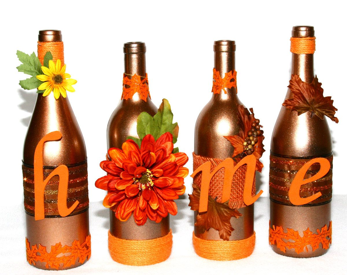 Decorated Wine Bottles Home Orange Fall Colors Floral Custom Wine Bottles Gift Thanksgiving Tabletop Centerpiece Vase Fall Wine Bottles Glass Bottle Diy Wine Bottle Gift