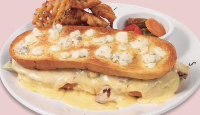 toks cenas septiembre Sándwich a los dos quesos  En pan Philly con queso roquefort, queso manchego, carne de res y jitomate deshidratado, acompañado de papa reja.