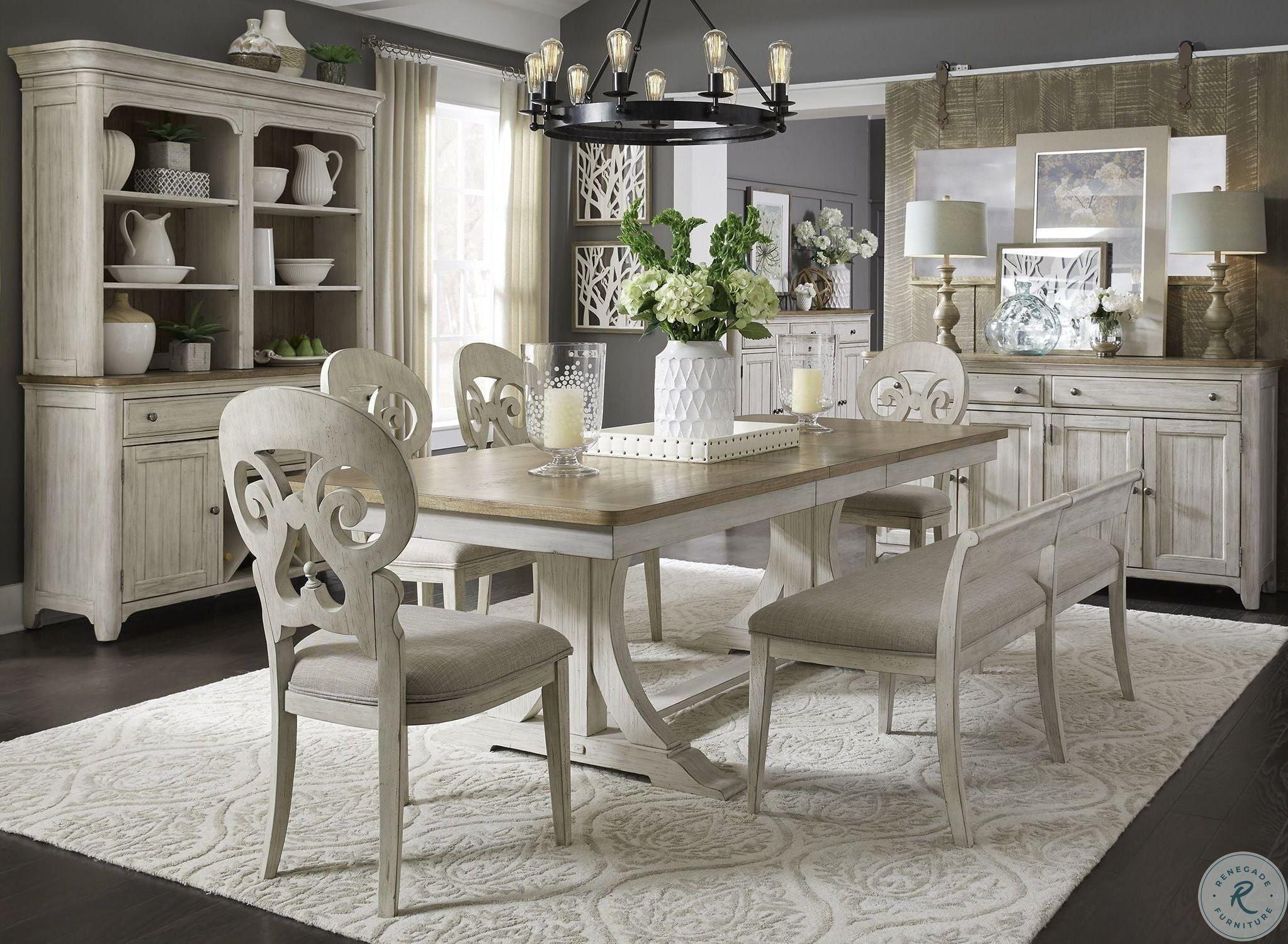 Farmhouse Reimagined Antique White, Farmhouse Dining Room Furniture Sets