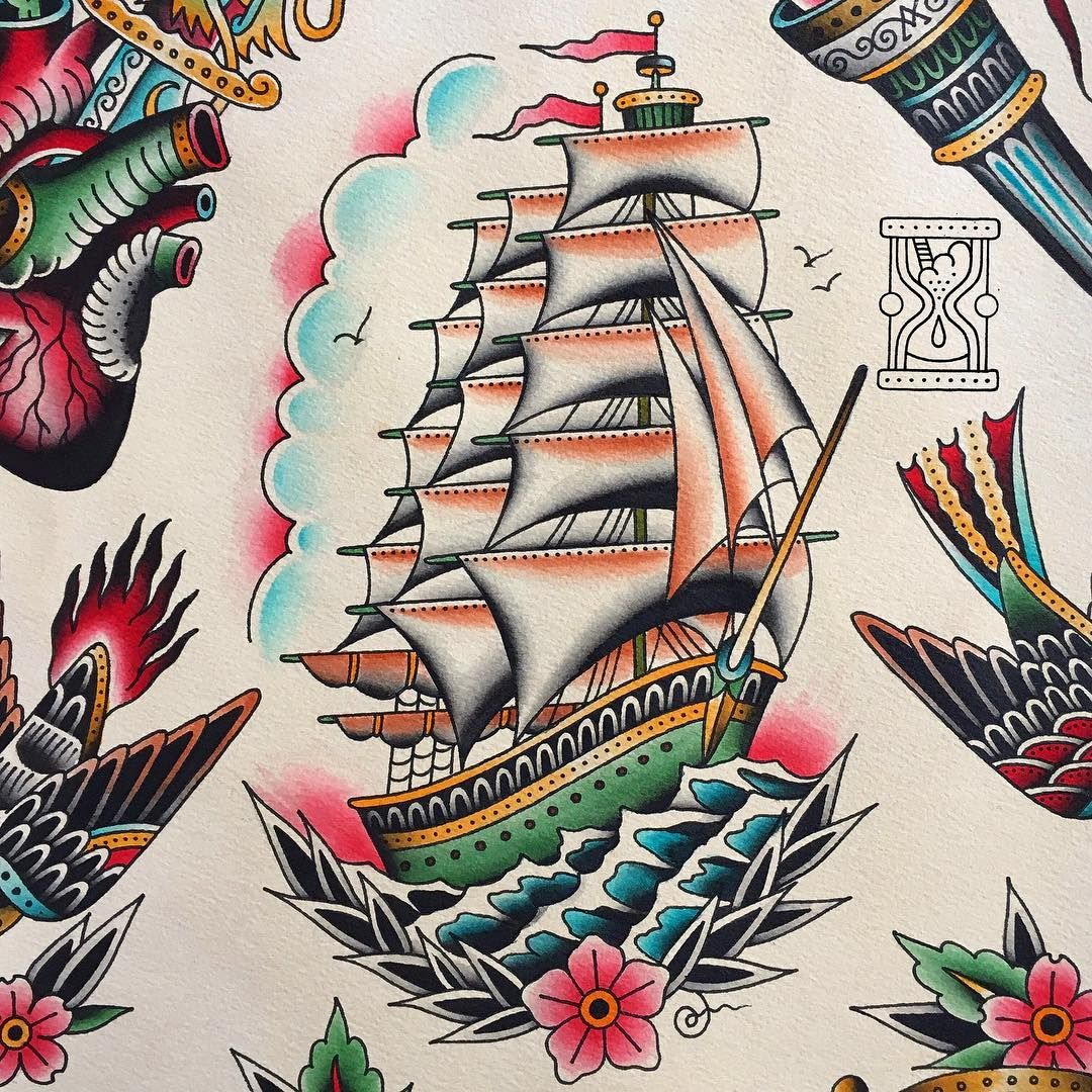 Pinterest: HaileeWalker | Traditional ship tattoo ...Old School Battleship Tattoos
