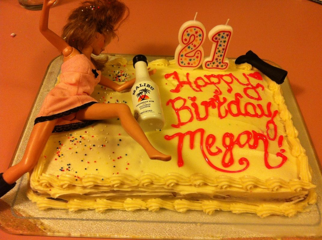 Girls 21st Birthday Cake Barbies Passed Out With Her Malibu