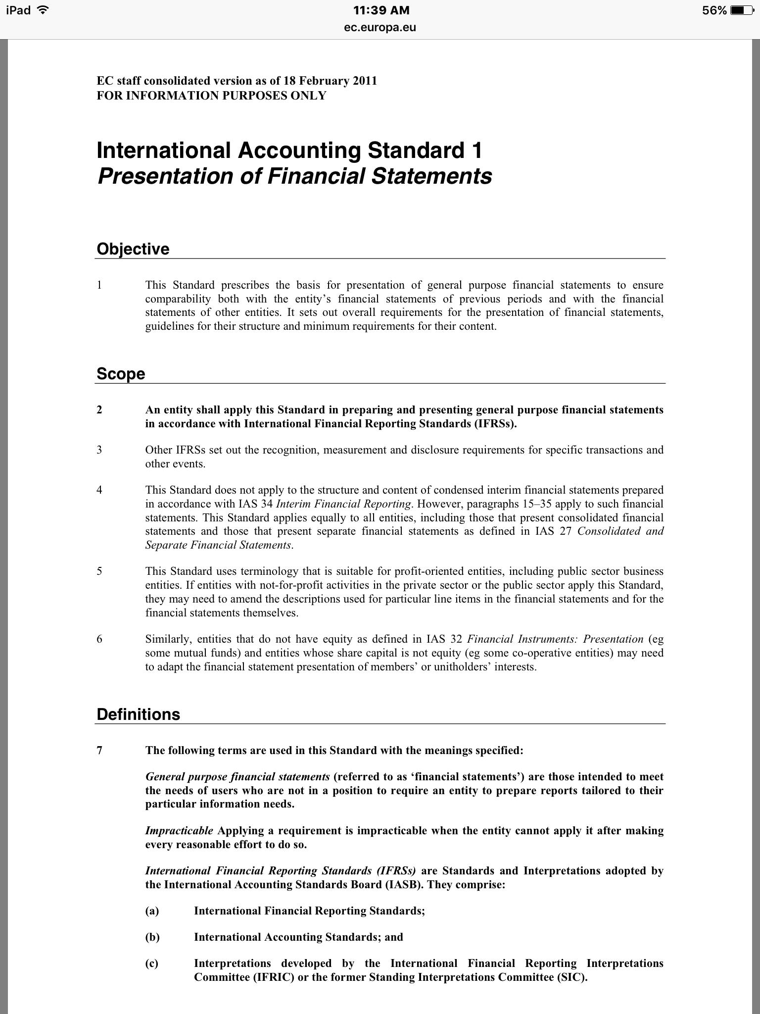 International Accounting Standard  Financial Accounting
