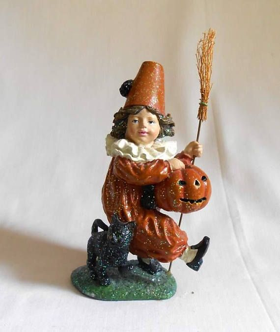 Trick or Treat Figurine Halloween Boy Witch With Broom Cat and - lowes halloween