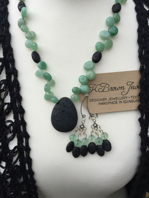 Gemstone jewellery set lava stone necklace green aventurine
