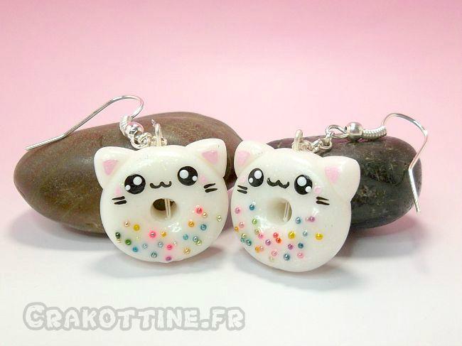 Boucles D Oreilles Kawaii Donut Porela Pinterest Pate Fimo