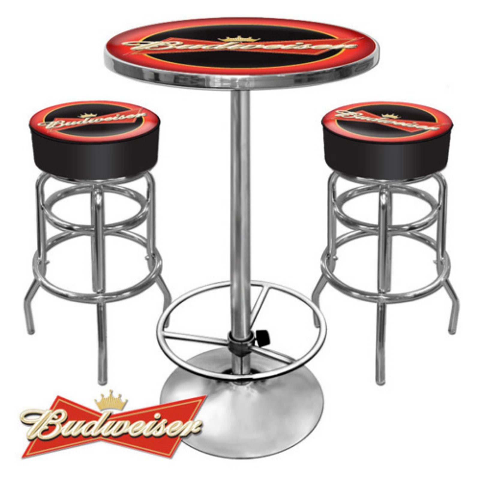 Budweiser Red Black Gameroom Pub Set 3 Piece In 2020 With Images Bar Stool Table Set Pub Table Bar Table And Stools