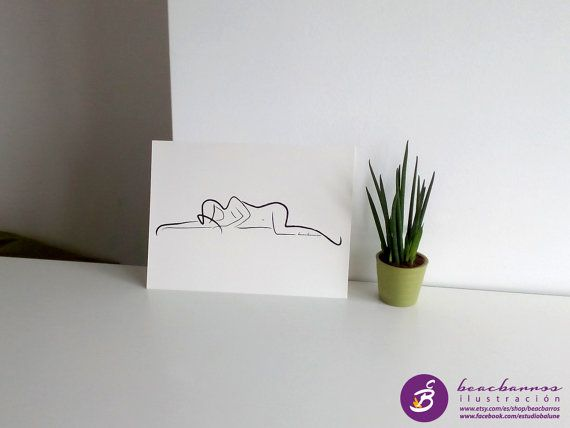 NAKED WOMAN signed print / abstract nude sketch / by beacbarros