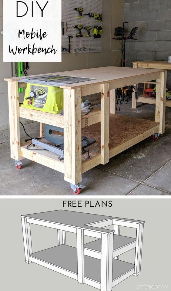 Mobile Werkbank mit Tischkreissäge Garage Organization Ideas #woodworking - Holzbearbeitung d...