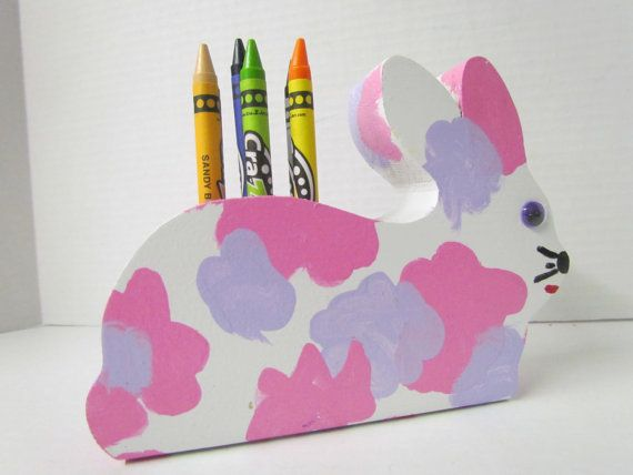 Wooden Bunny Crayon Holder with Crayons by Grampasworkshop on Etsy, $5.00