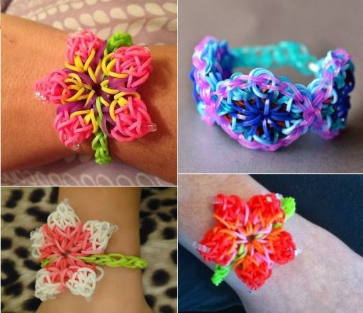 How To Make Diy Hibiscus Flower Rainbow Loom Bracelet Rainbow Loom Patterns Rainbow Loom Bracelets Rainbow Loom Creations