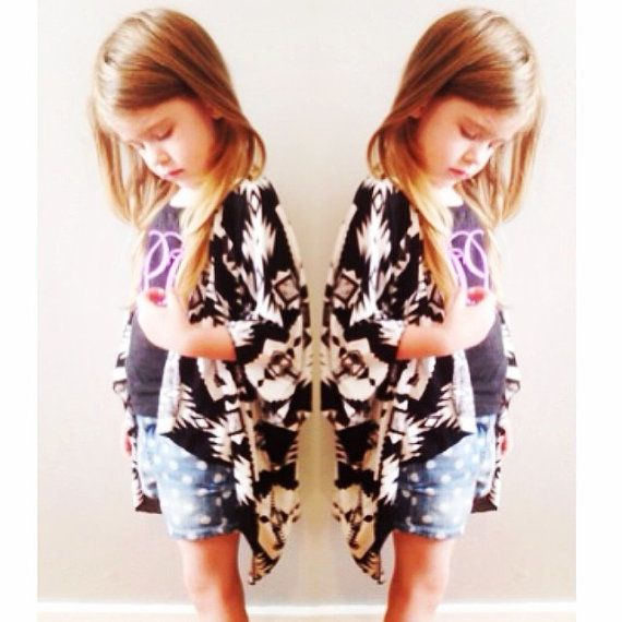 Black and White Aztec Kimono Cardigan // toddler Aztec Kimono ...