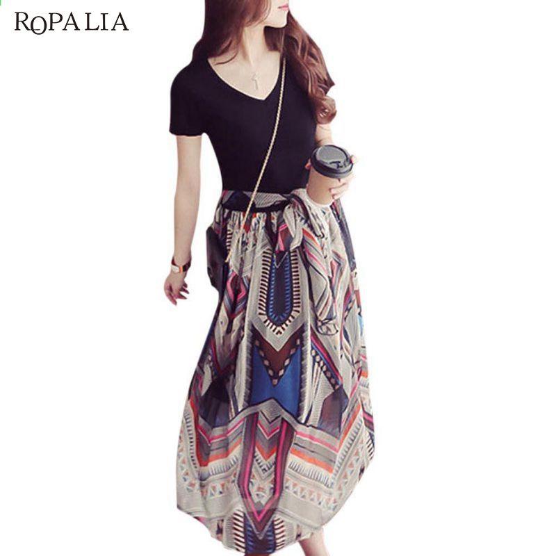 ROPALIA Mode Frauen Plus Size Chiffon V-Ausschnitt Maxi Kleider ...