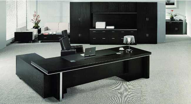 Echanting Of Executive Office Desk Modern Luxury Black Office Furniture Officed Blac In 2020 Black Office Furniture Executive Office Desk Office Interior Design