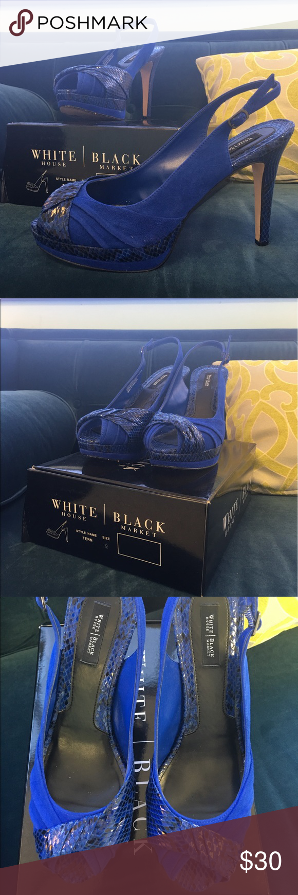 "White House Black Market ""Tern"" Slingback Heels White House Black Market ""Tern"" Slingback Heels in cobalt blue with box! Love these super trendy heels, they're perfect for a night out on the town! Dress them up with a cocktail dress, or dress them down with your favorite pair of jeans. They've seen some wear, but they're in excellent condition! 💙 White House Black Market Shoes Heels"