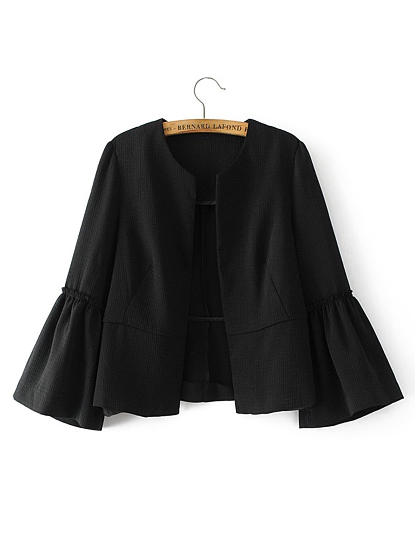 4011d956d1 Shop Bell Sleeve Frill Trim Blazer online. SheIn offers Bell Sleeve Frill  Trim Blazer   more to fit your fashionable needs.