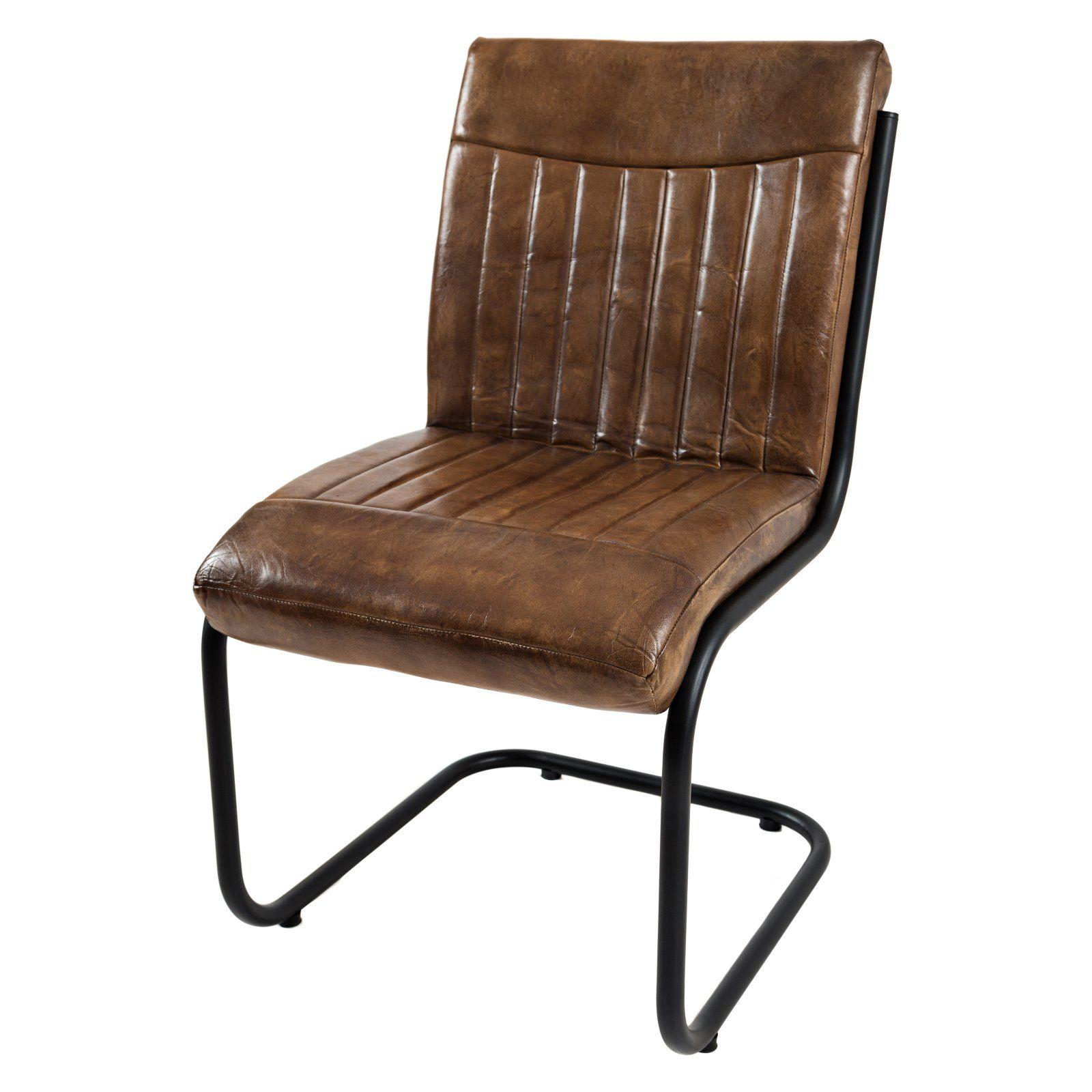 Jofran Aviator Genuine Leather Chair Set of 2 Metal
