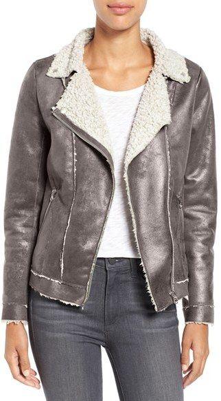 Dylan Faux Shearling Moto Jacket