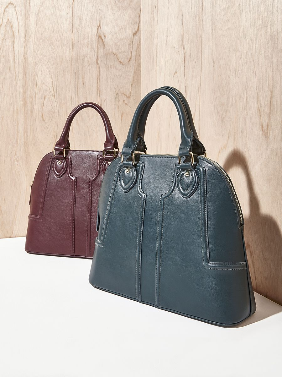 dab59b70dac6d Structured vegan leather handbag in woodland green and oxblood ...