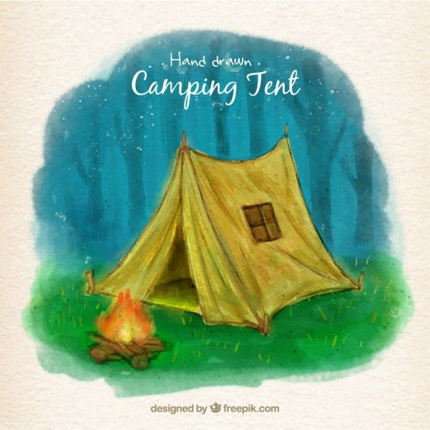 Download Hand Painted Yellow Camping Tent In Front Of A Campfire