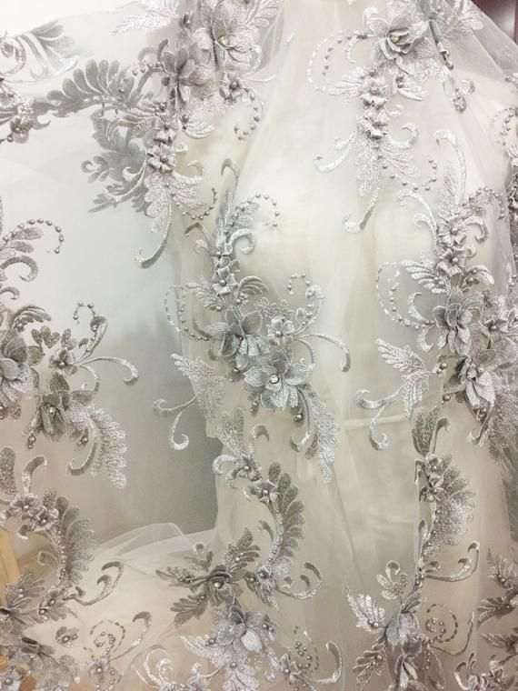 Beaded Blossom Lace Embroidery 3D Flower Lace Mesh Stunning Pearl Beads Fabrics  for Prom Dresses 51 inches Width Sold by 5 yards