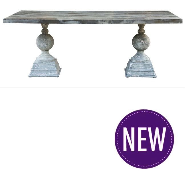 Silver Pewter DIning Table