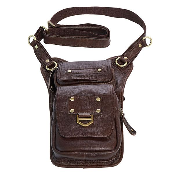 97fc2d624a Ekphero Men Genuine Leather Vertical Shoulder Bag Vintage Leisure Business Crossbody  Bag Phone Pack