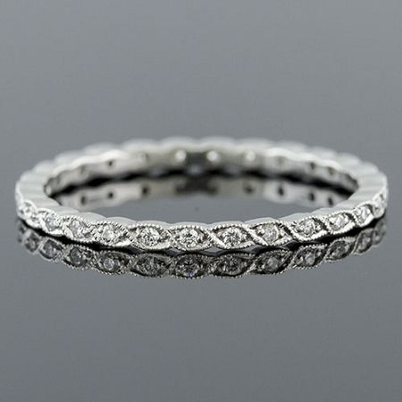Ultra Thin Pave Diamond Woven Milgrain Stackable Platinum Eternity Wedding Band